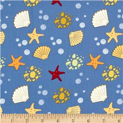 Sea Breeze Seashells & Starfish Blue