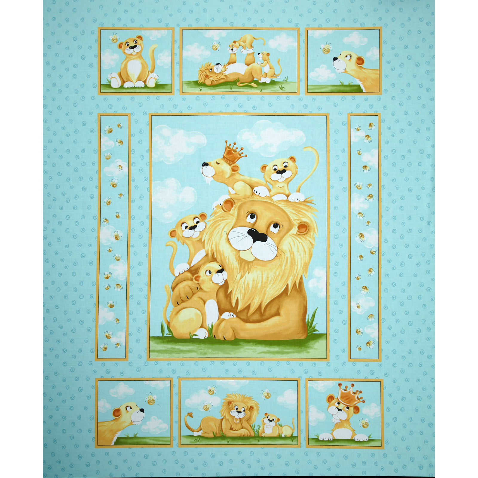 Lyon Panel Blue Fabric by Susybee in USA