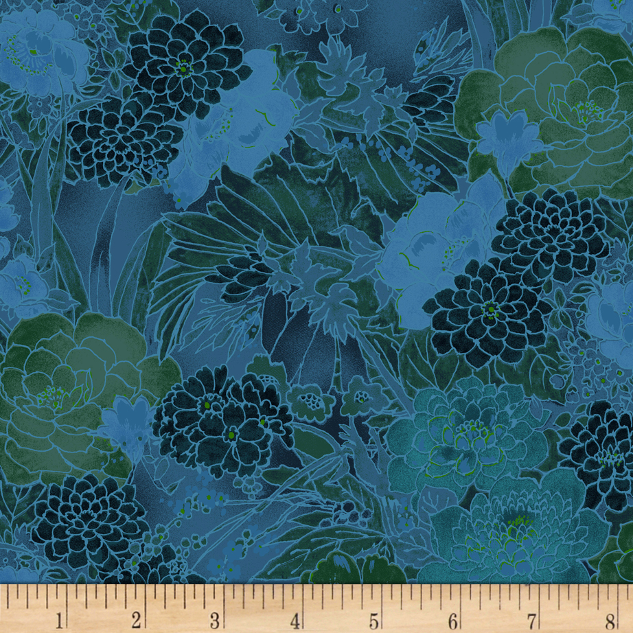 INOpets.com Anything for Pets Parents & Their Pets Miyako Garden Teal Fabric