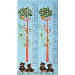 Mystic Forest Bears Under Tree Growth Chart Panel Blue