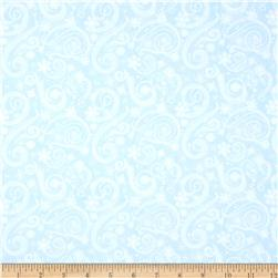 Flaky Snow Pals Snowflake Swirl Blue Fabric