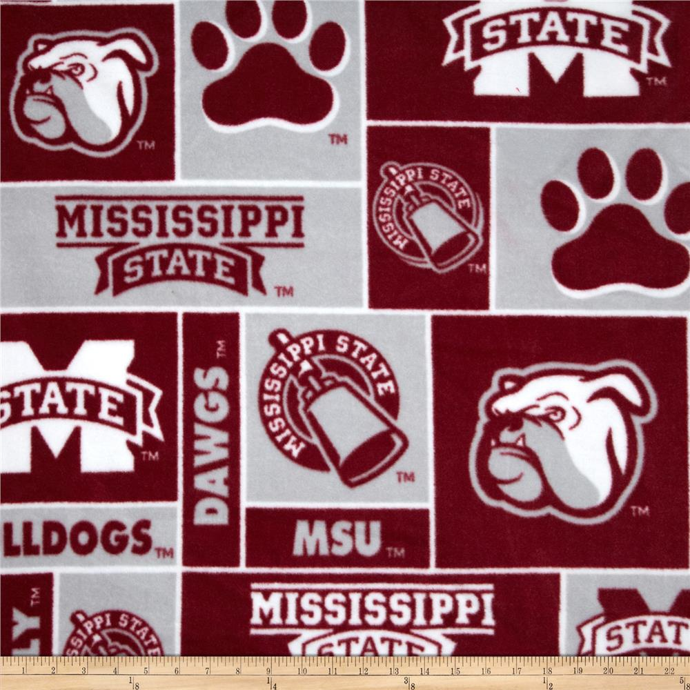 Collegiate Fleece Mississippi State Bulldogs Burgundy/Gray Fabric By The Yard