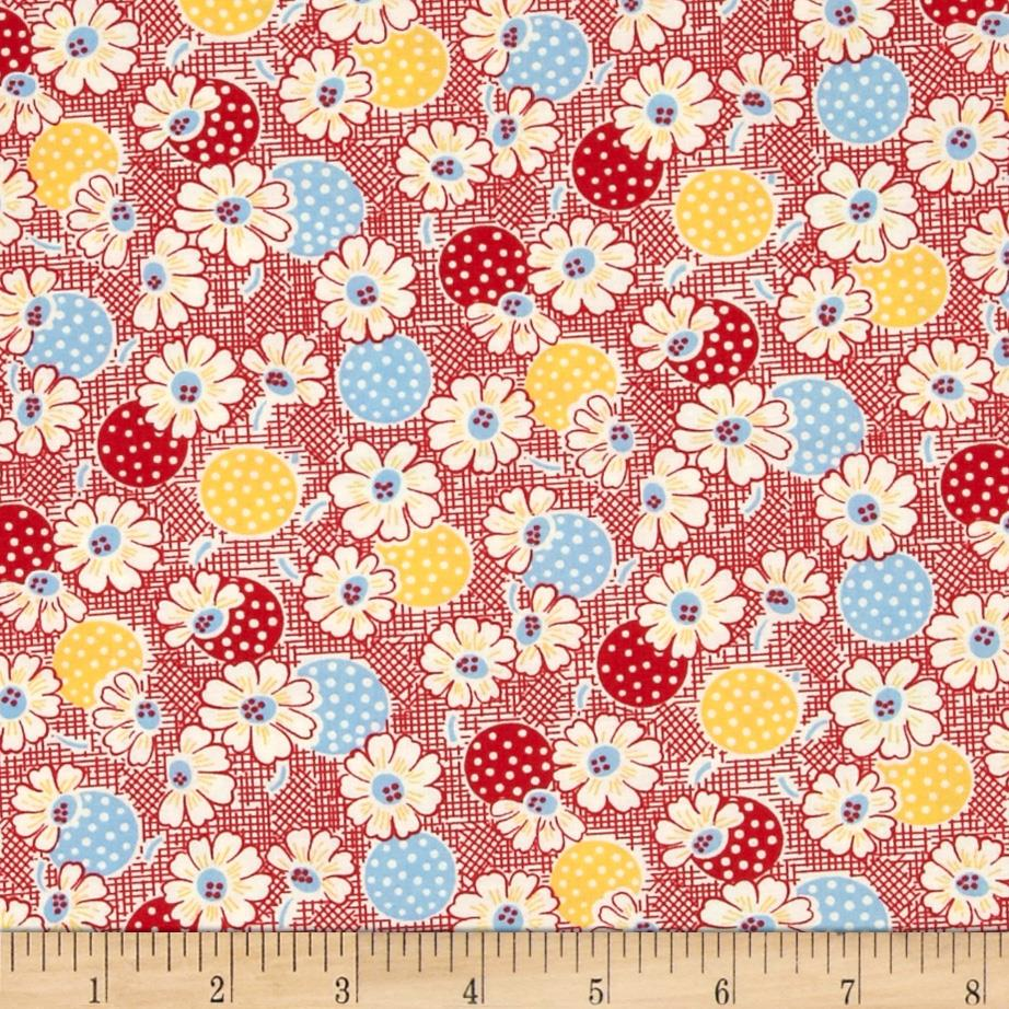 Moda Fresh Air Polka Dot Daisy Red