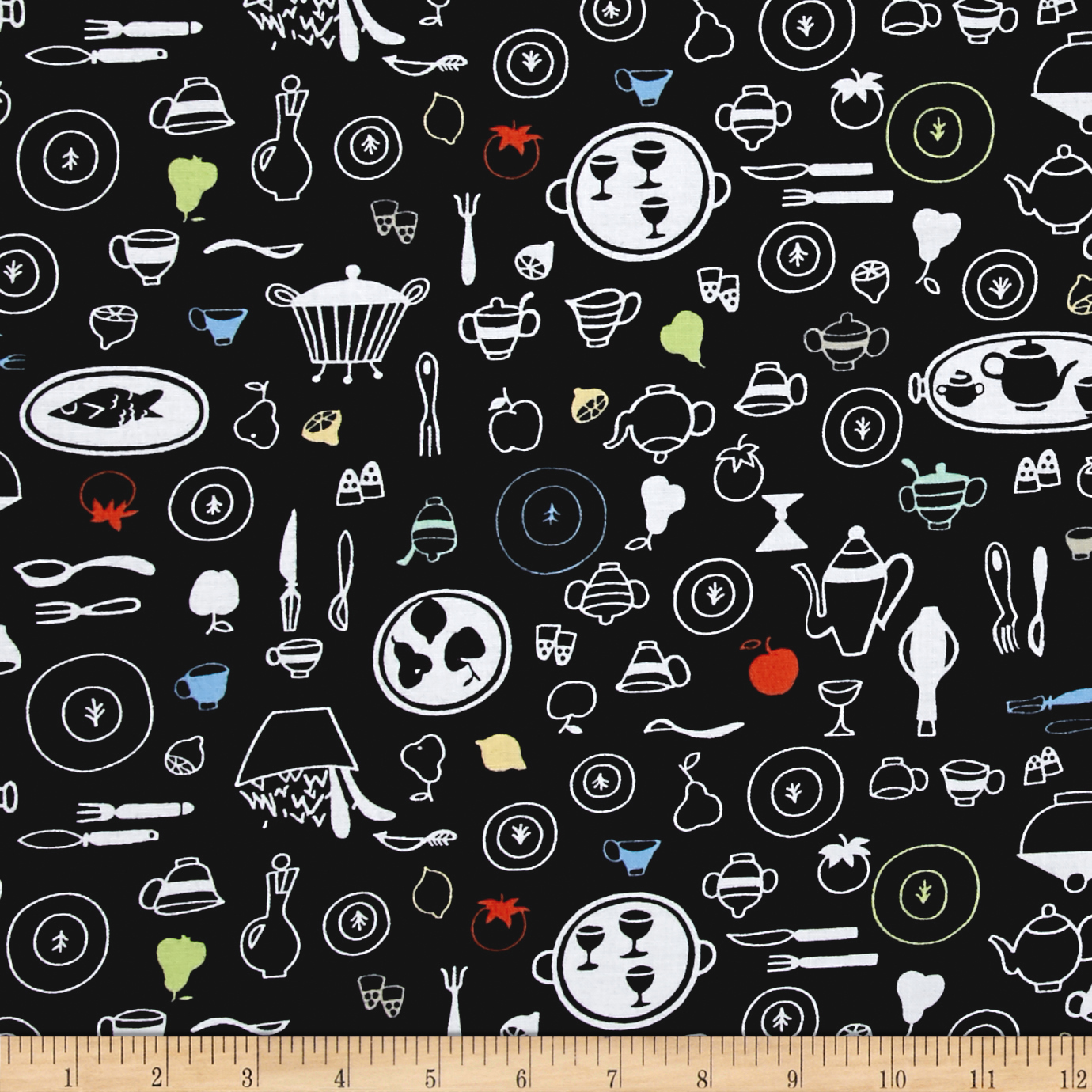 Whip It Up Kitchen Items Toss Black Fabric 0431831