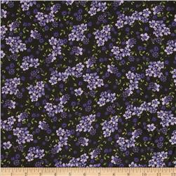 Rayon Challis Ditsy Blooms Purple/Black