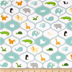 Riley Blake Little Ark Flannel Friends Aqua