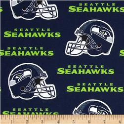NFL Cotton Broadcloth Seattle Seahawks Blue/Green Fabric