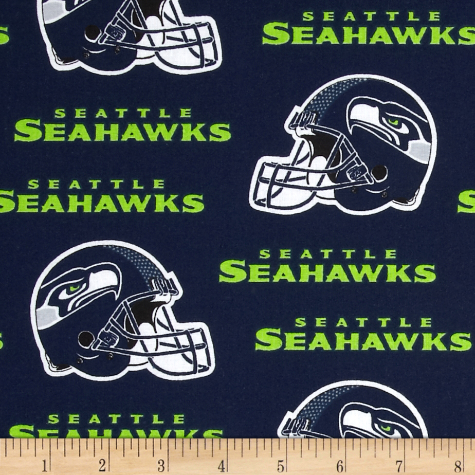NFL Cotton Broadcloth Seattle Seahawks Blue/White Fabric by Fabric Traditions in USA