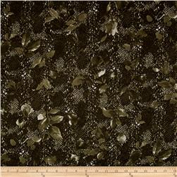 International Designer Stretch Twill Animal Print Olive