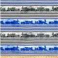 Full Steam Ahead Train Stripe Blue