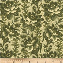 Large Floral Ivory/Green