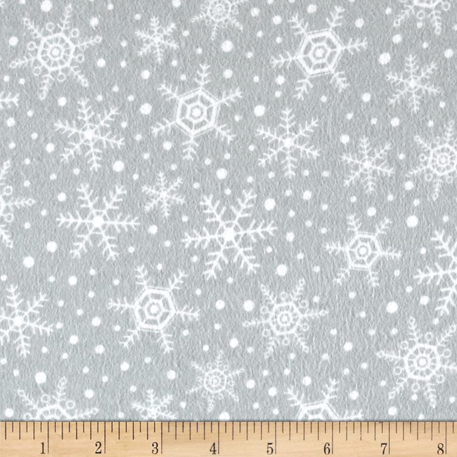 Flannel Snowflakes Grey