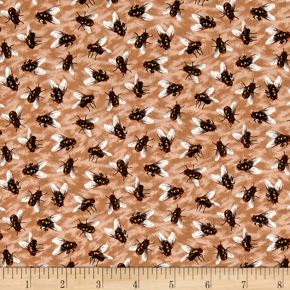 You Bug Me Flies Beige Fabric by Fabri-Quilt in USA