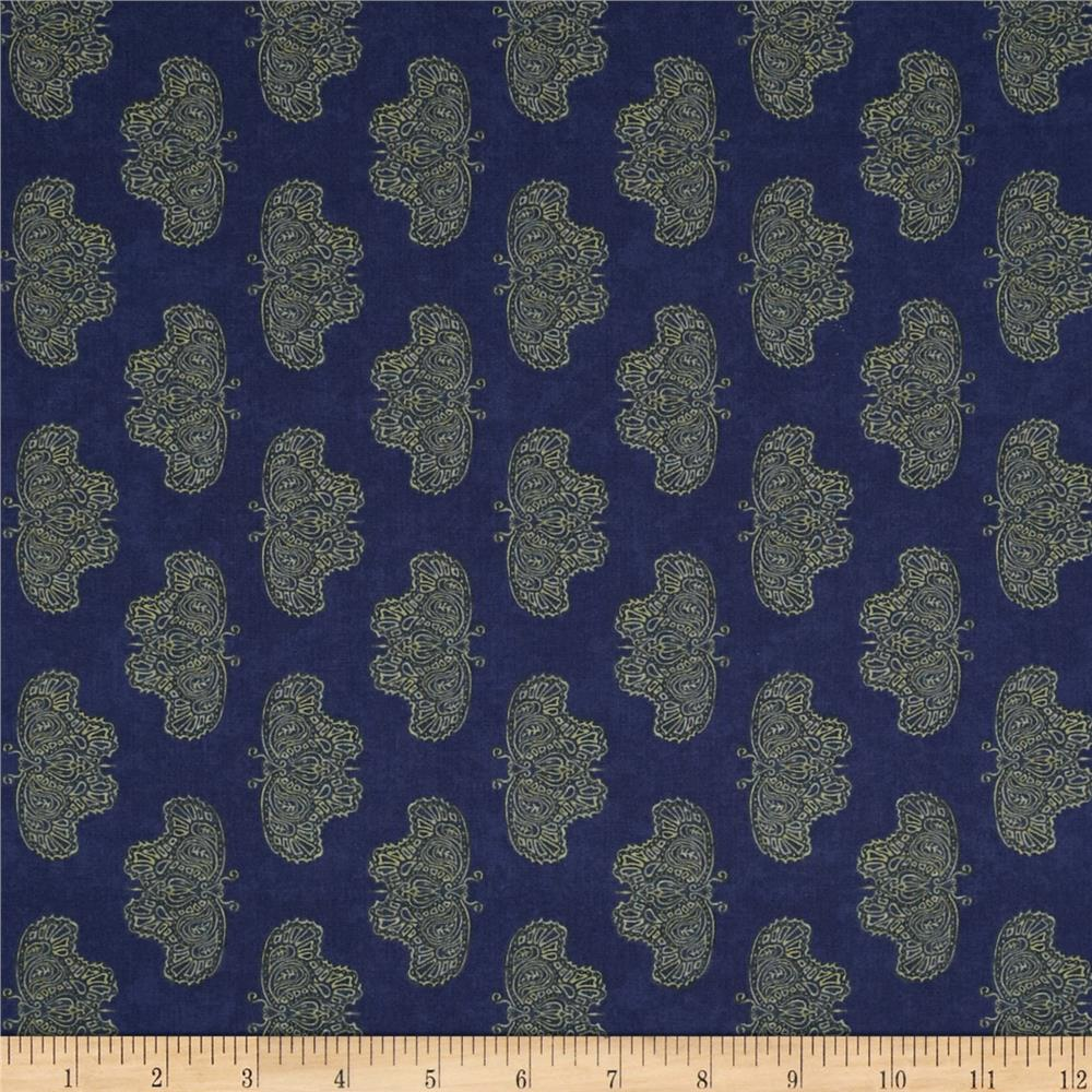 Moda Woodland Summer Northern Butterflies Indigo