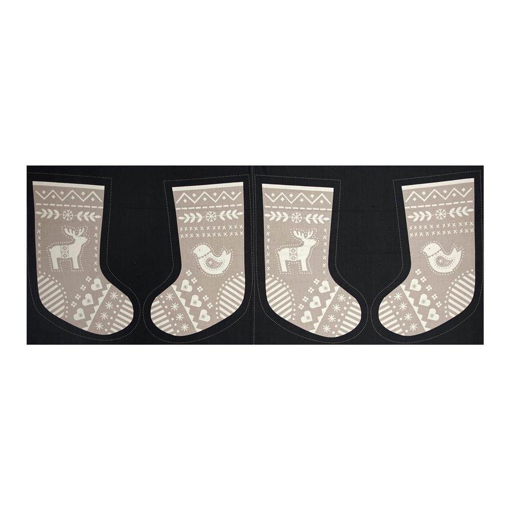 When I Met Santa's Reindeer Stocking 18 In. Panel Black