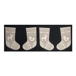 When I Met Santa's Reindeer Stocking Panel Black