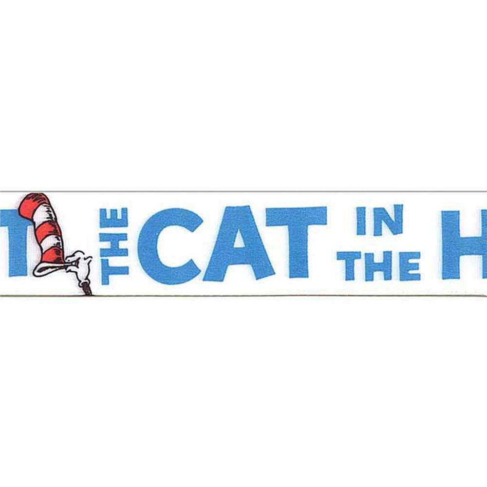 "7/8"" Dr. Seuss Cat In The Hat Ribbon White"