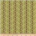 Paula Barnes Olde Townhouse Small Floral Stripe Green