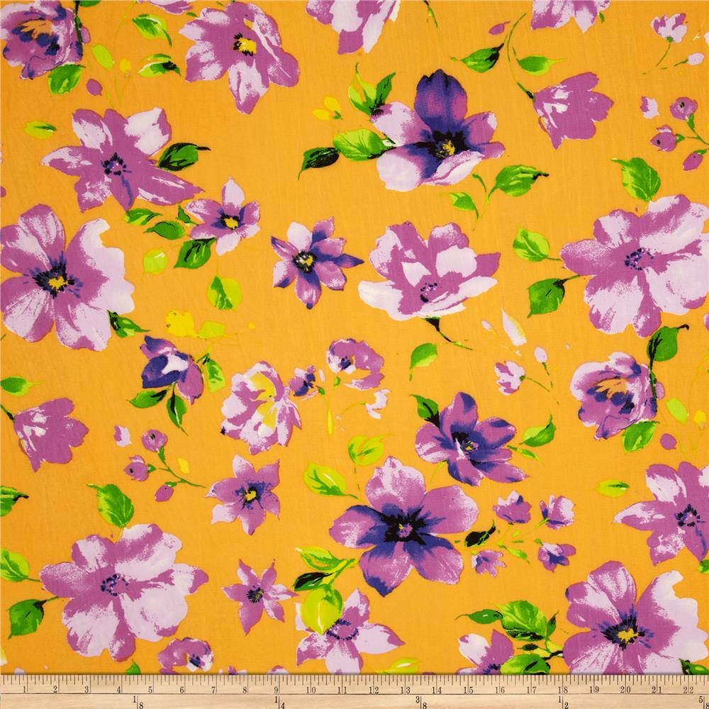 Designer Stretch Jersey Knit Floral Orange/Lavender
