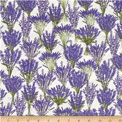 Timeless Treasures Lavender Garden Stacked Lavender Bundles Cream