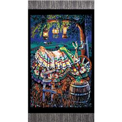 "Princess on a Pea Around the World  Prairie 24"" Panel Black"