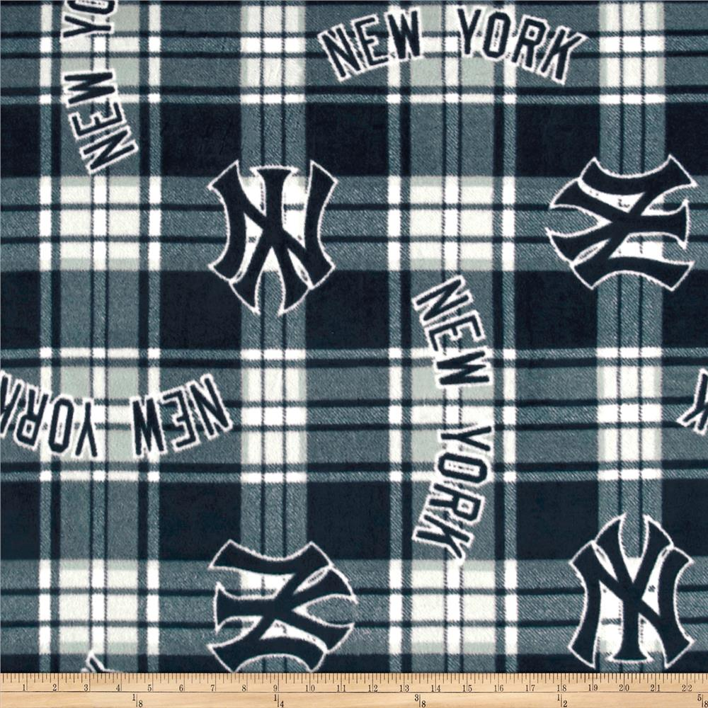 MLB Fleece New York Yankees Paid Navy/White Fabric By The Yard