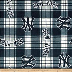 MLB Fleece New York Yankees Plaid Navy/White