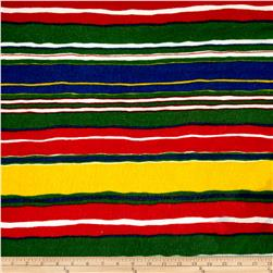 Lightweight Sweater Knit Multi Stripes on Green/Cobalt/Red