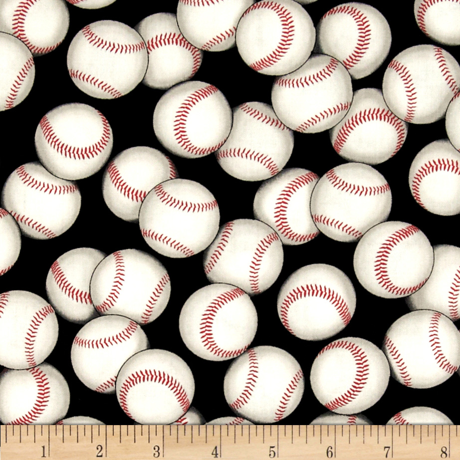 Sports Life 3 Baseballs Black Fabric