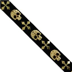 "1/2"" Faux Suede Skulll Hot Fix Banding Gold"