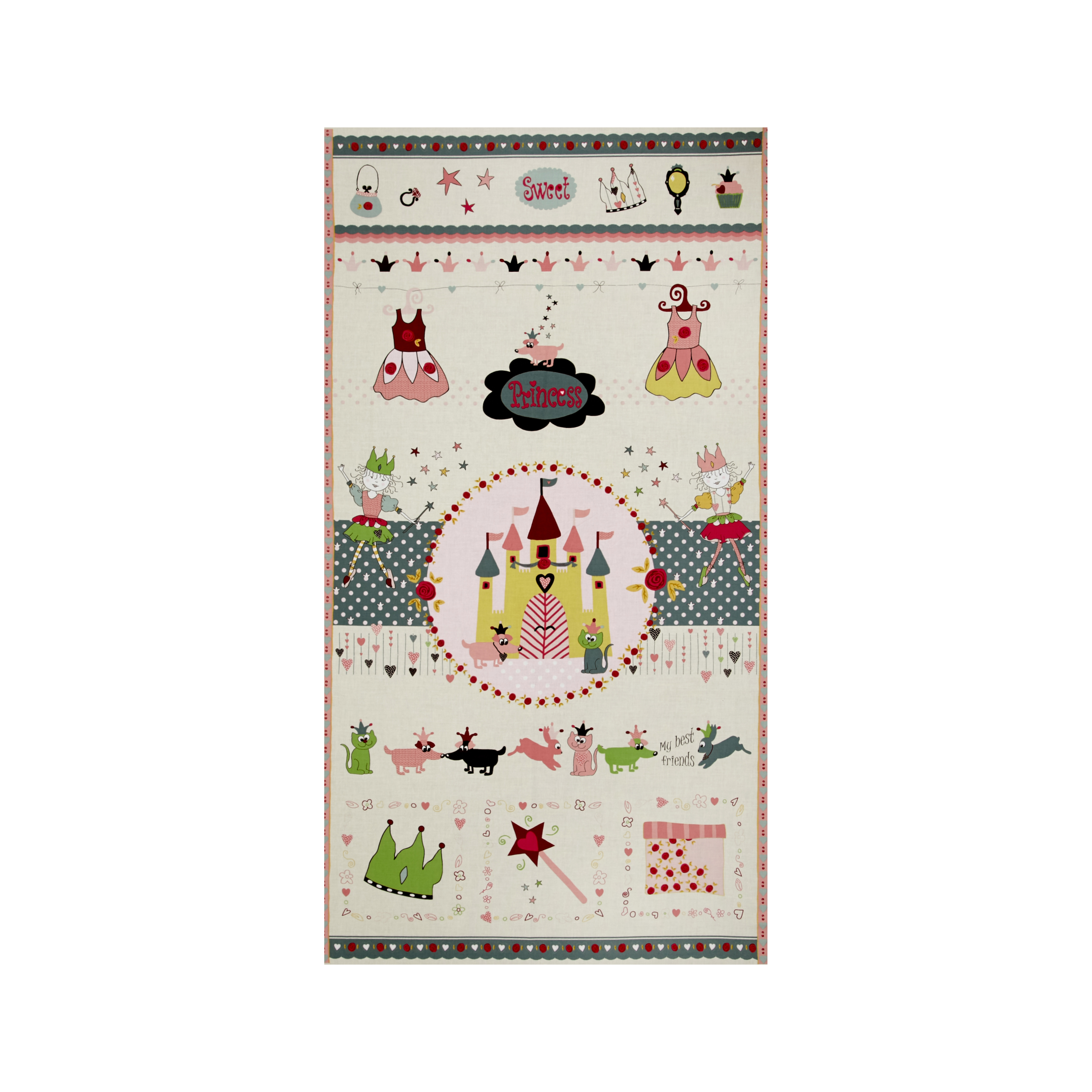 Sweet Princess 24 In. Panel Green/Pink Fabric by Stardom Specialty in USA