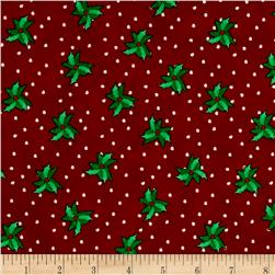 Christmas Wishes Bits Of Holly Holiday Red