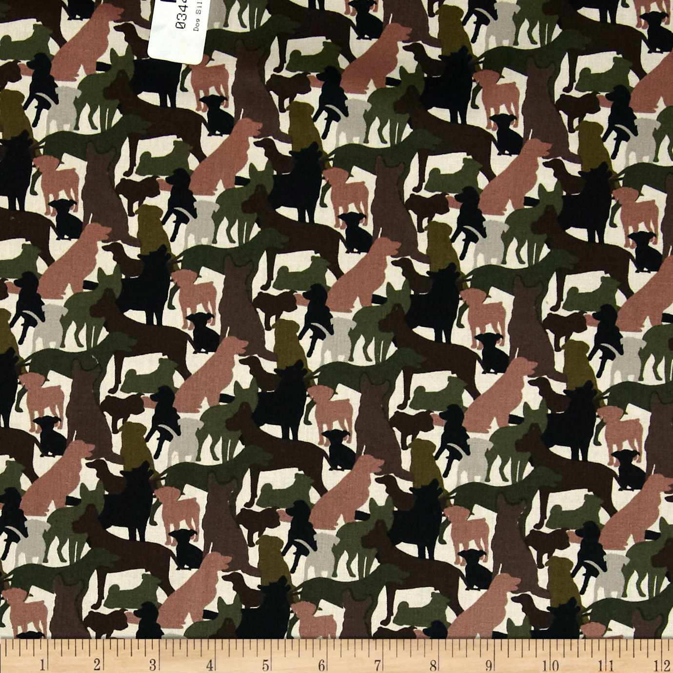 Dog Silouettes Hunter Green Fabric
