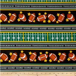Timeless Treasures Sports Football Stripe Black Fabric