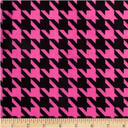 Minky Houndstooth Hot Pink/Black