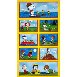 Camp Peanuts Patches Panel Yellow