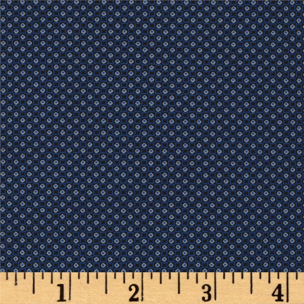Kaufman Sevenberry Petite Foulard Circle Square Navy