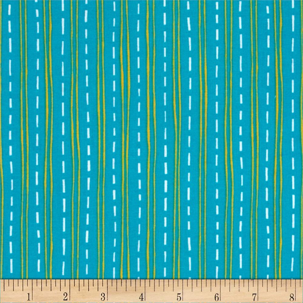Construction Zone Road Stripes Turquoise