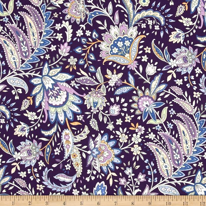 Notting Hill Paisley Floral Purple Fabric