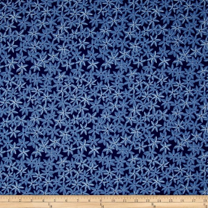 Michael Miller Sea Holly Star Flowers Navy