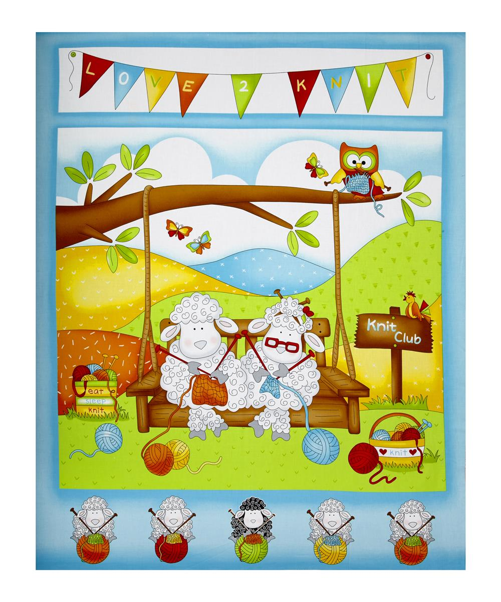 Knit Happy 36'' Knitting Sheep Panel Turquoise Fabric
