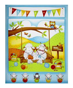 "Knit Happy 36"" Knitting Sheep Panel Turquoise"