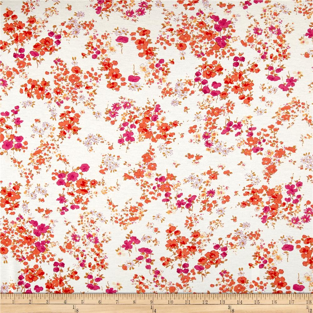 French Designer Rayon Jersey Knit Small Floral Orange Fabric