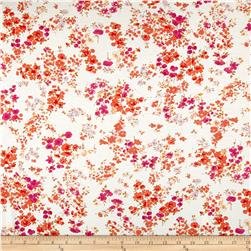 French Designer Rayon Jersey Knit Small Floral Orange