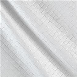 Faux Leather Tile Basketweave White