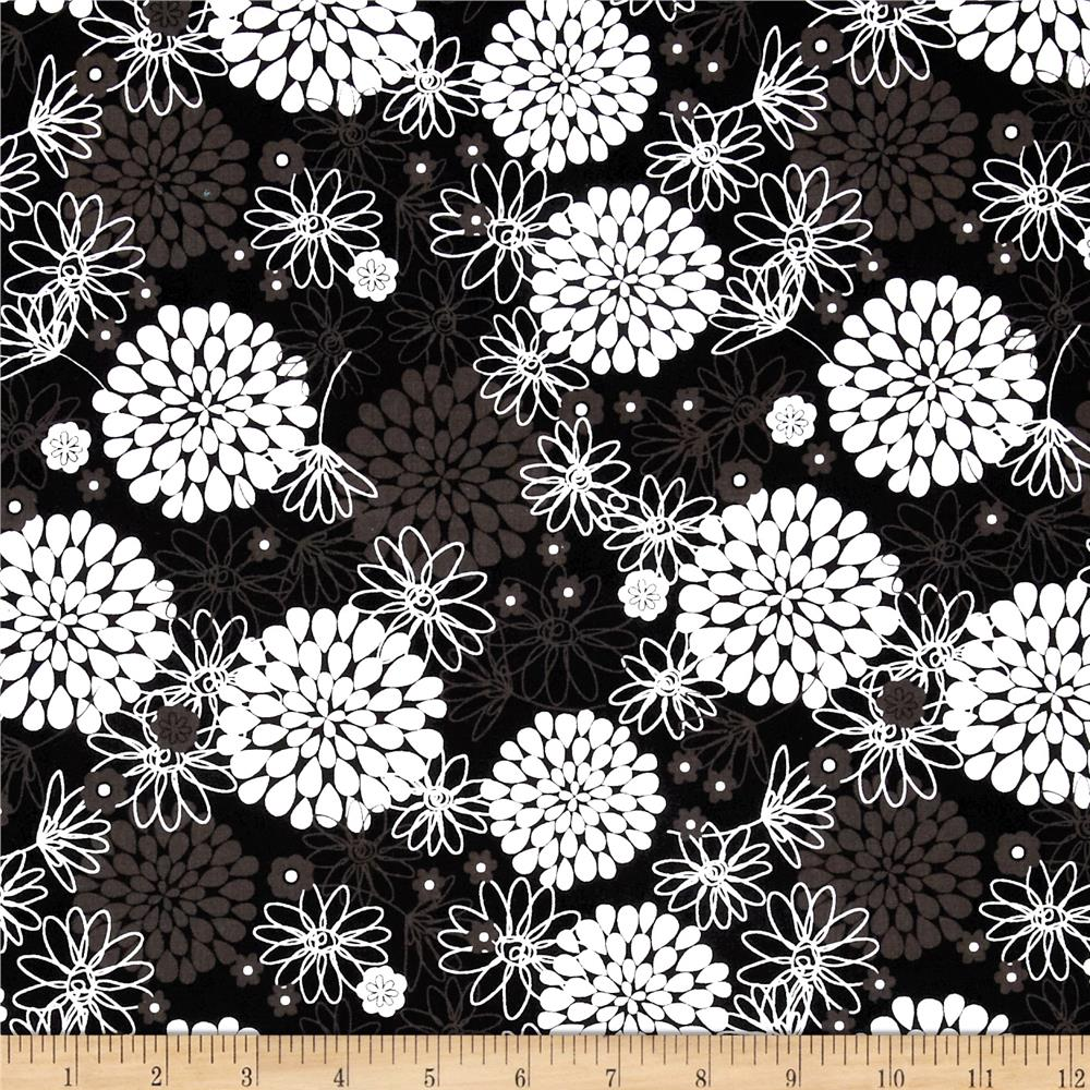 Large Tossed Floral Black