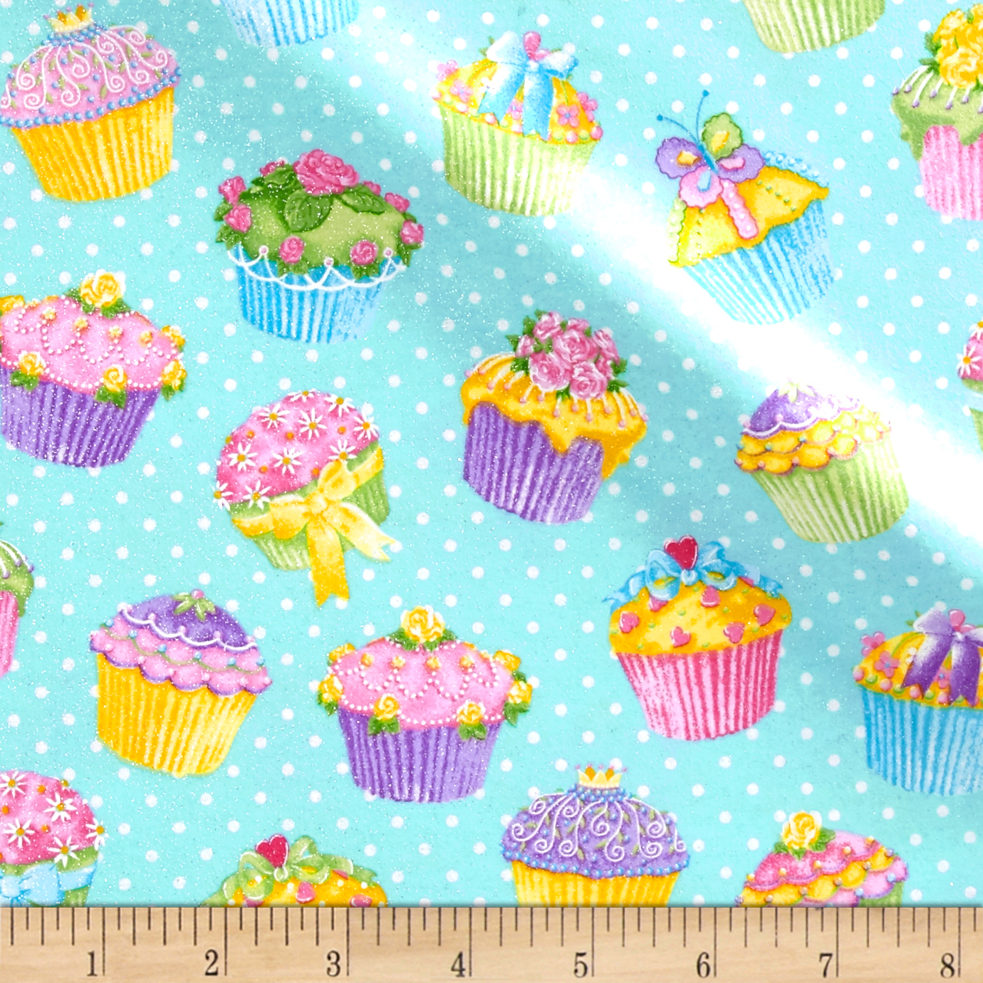 Pizzaz Flannel Glitter Cupcakes Blue Fabric by Fabric Traditions in USA