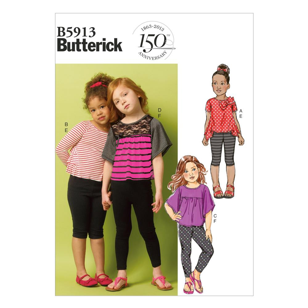 Butterick Children's/Girls' Top and Leggings Pattern B5913 Size CDD