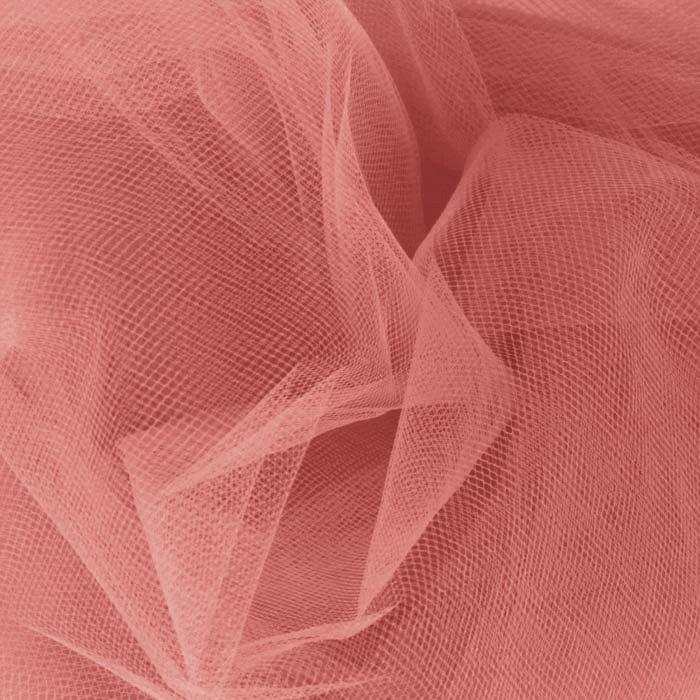 108 39 39 wide nylon tulle coral discount designer fabric for Fabric cloth material