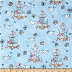 Bird Wise Birdcage Blue Fabric